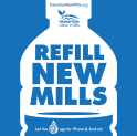 Refill New Mills bottle logo Facebook leaflets etc